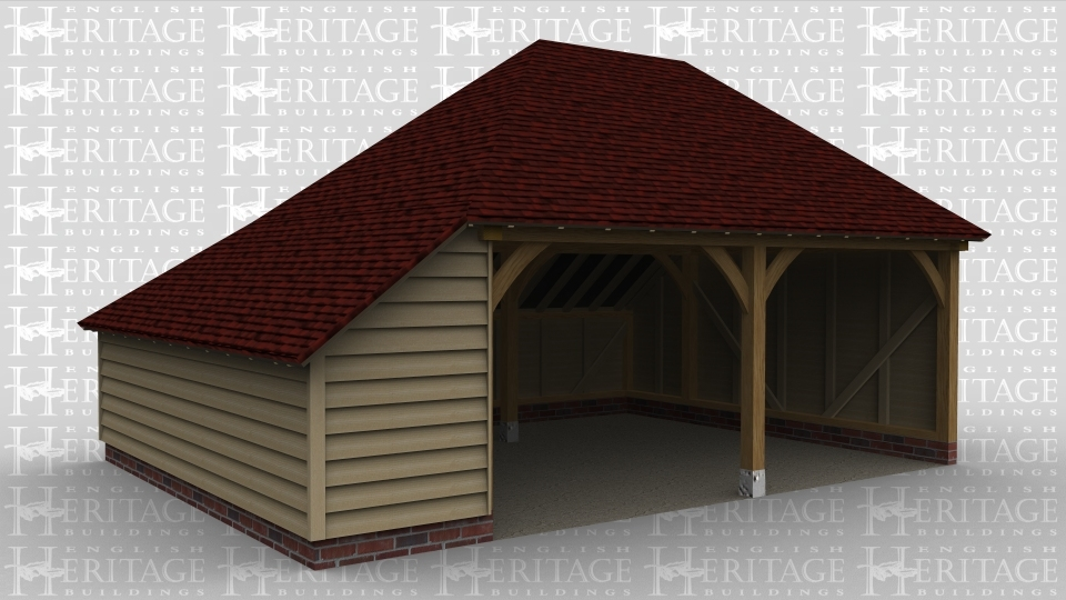 A 2 bay oak framed garage with an internal aisle on the left and is open at the front.