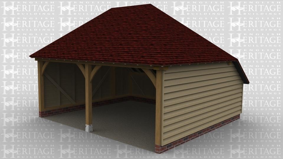 A 2 bay oak frame garage open at the front.