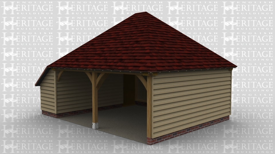A 2 bay oak framed garage open at the front with an internal aisle on the left with a door between the bay and the aisle for secure storage.