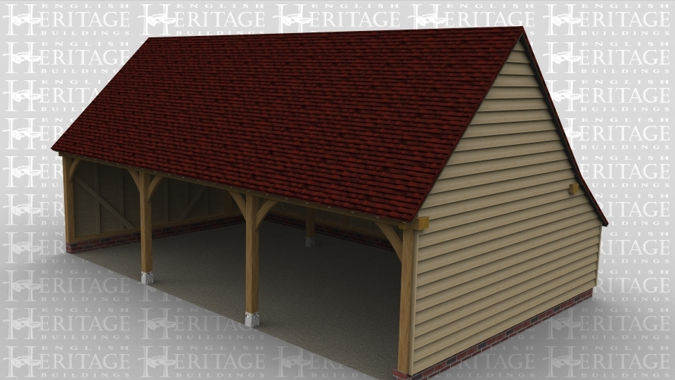 A 3 bay oak framed garage that is open at the front.