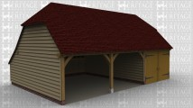 A 3 bay oak framed garage with 2 bays open at the front and the third with garage doors on the front.