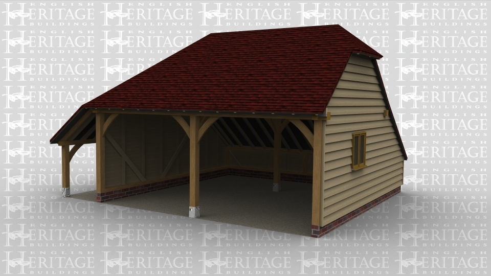 A 2 bay oak framed garage open at the front with a 2 light window on the right wall and an external aisle on the left.