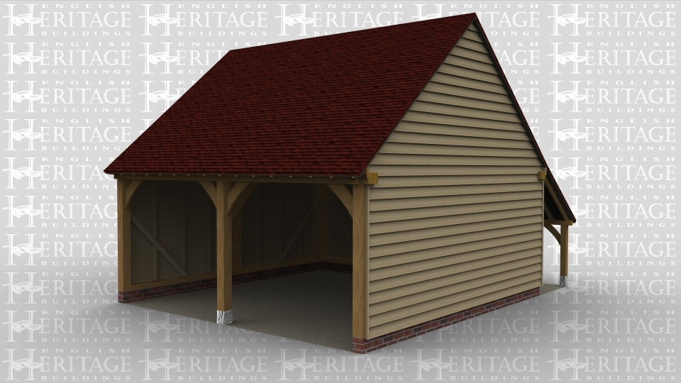 A 2 bay oak framed garage which is open at the front with an external aisle on the rear