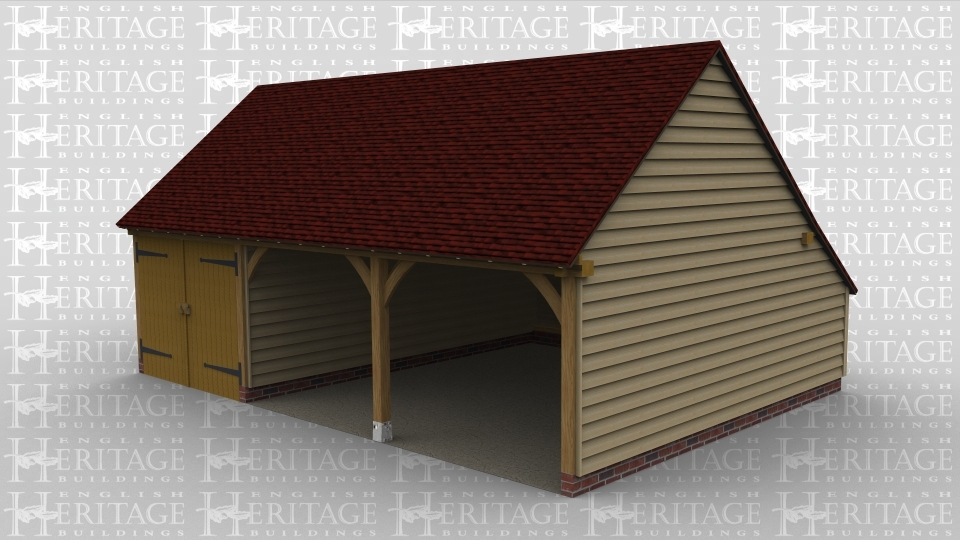 A 3 bay oak framed garage with 2 bays open at the front and 1 bay with garage doors at the front.