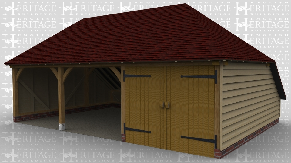 A 3 bay oak framed garage with 2 bays left open at the front while the other has iroko garage doors.
