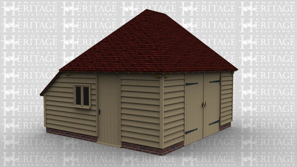 A single oak framed garage / workshop with garage doors on the front as well as a single door and a 2 light window on the left. The rear of this building also has an enclosed aisle.
