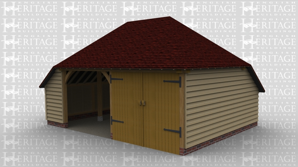 A 2 bay oak framed garage with one bay left open at the front while the other is enclosed within iroko garage doors, this frame also has internal aisles on both the left and the rear.