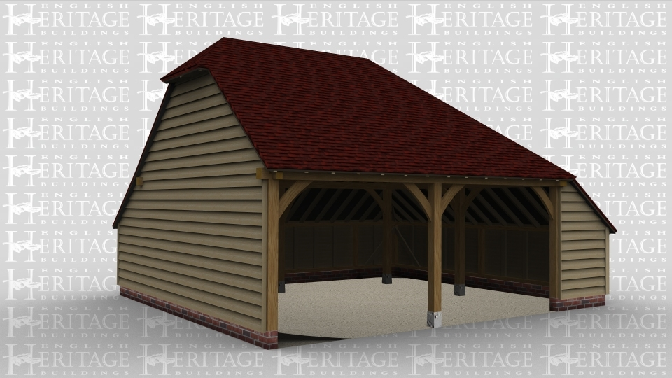 A 2 bay oak framed garage open at the front with an internal aisle on the right.
