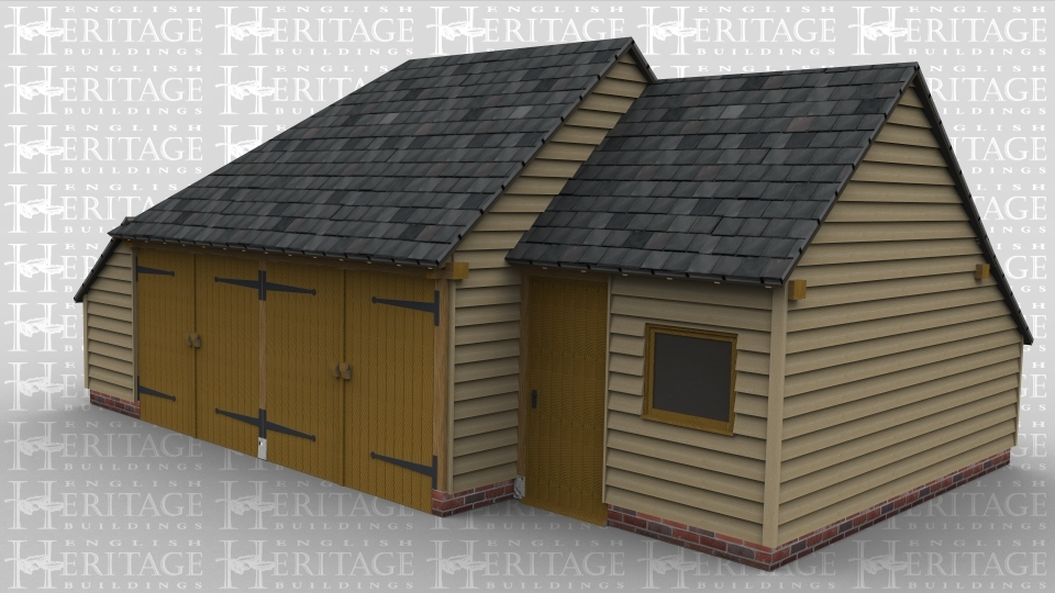 An oak frame garage and store with two enclosed garage bays and a third bay enclosed with access via a single personnel door and a window to the front.