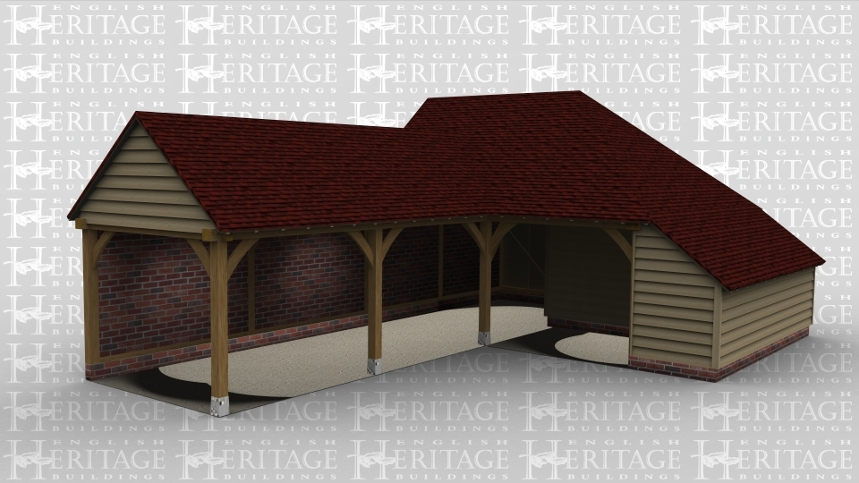 A 5 bay oak frame garage made up of 2 frames. The first frame makes up 4 of the bays . The frame is open at the front and to the left while the rear is a brick wall.. The second frame is a single bay open at the front with an internal aisle on the right and a solid single door at the rear.