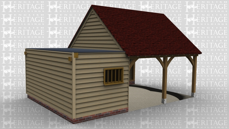 A 3 bay oak framed garage with 2 bays open at the front and at the right, the other bay is boarded on all sides with a  flat roof, it also has a solid single door on the right and a mullion window on the front.