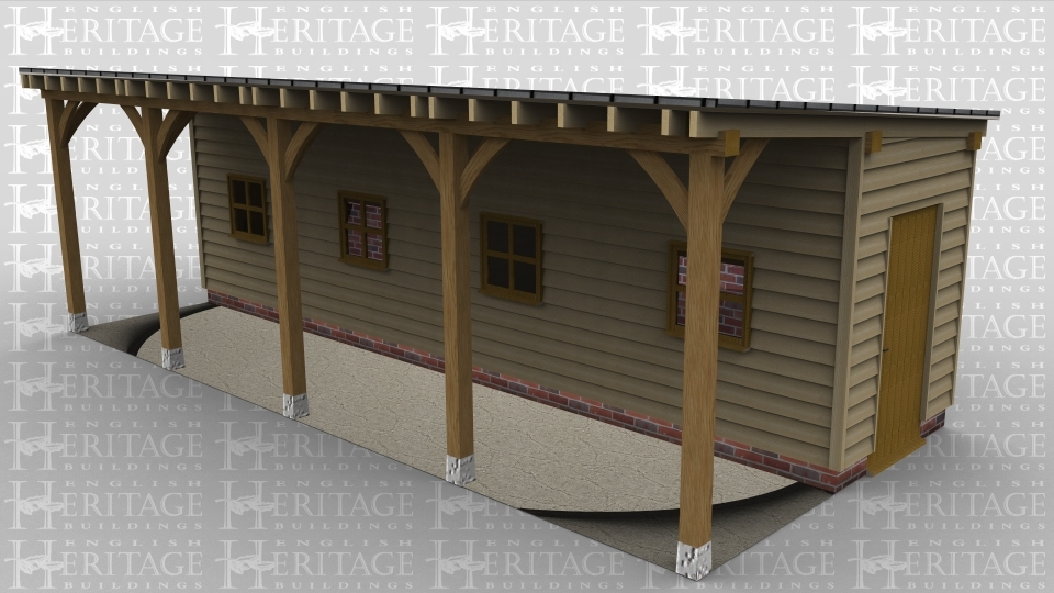 A 4 bay oak framed monopotich leisure building with the wall at the front set back to allow create an aisle at the front, on the front wall are 4 windows whilst on the left is a solid single door and aslo one on the right. On the rear of the building are 4 four windows.