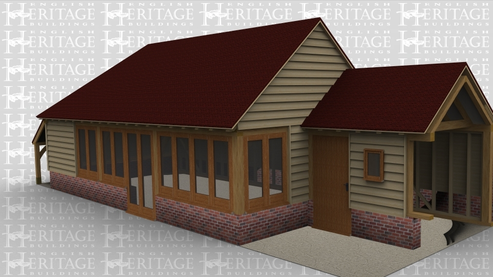 A 4 bay oak framed home extension made up of 2 frames. The first frame is 3 bays in size  and has a logstore attached on the left, on the front of the building is a set of full height glazed doors accompanied by 8 garden room windows on the fron and 2 more on the right. The second frame is a link building  with a solid single door on the front as well as a single light window, the right wall is left open to allow it to attach to an existing building.