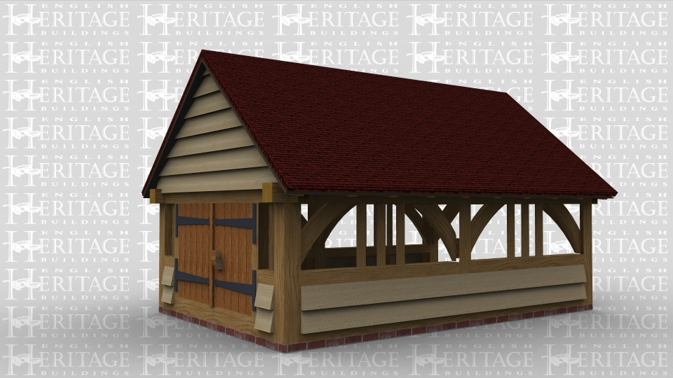 A single bay boathouse with oak doors on the front and a feature truss at the rear, this frame has partially open sides with decoratve oak on both the left and right.