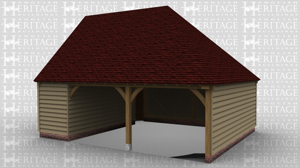 A 2 bay oak framed garage open at the front with an internal aisle on the left and a  solid single door at the rear.