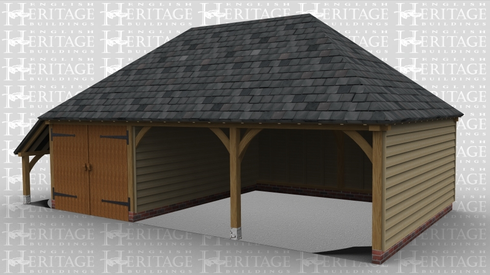 A 3 bay oak framed garage with 2 bays open at the front while the other has iroko garage doors at the front, this building also has an external aisle on the left.