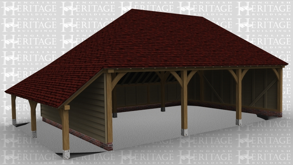 A3 bay oak framed garage open at the front with an external aisle on the left.