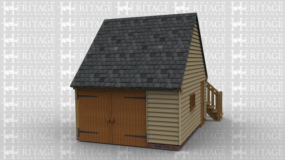 A single bay oak framed garage with an upper floor . The ground floor has an iroko garage door at the front, on the right there is a mullion window and a solid single door, at the rear is an external  staircase leading to the first floor. The first floor has a dormer containing a solid single door and a slate roof