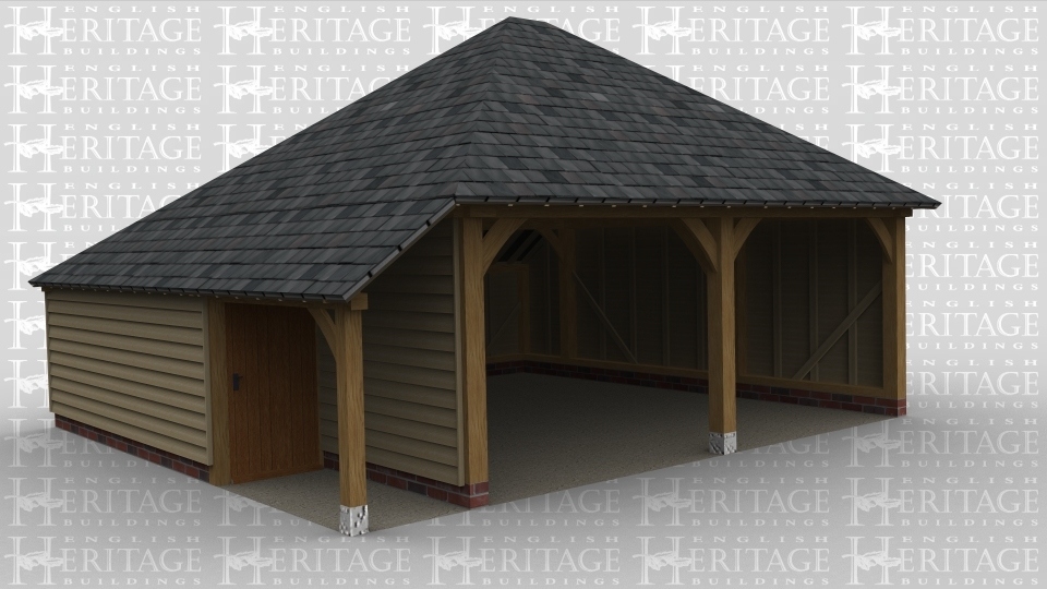 A 2 bay oak framed garage open at the front with an aisle on the left which is open to the front and enclosed to the rear with a single door, there is also an internal aisle at the rear.