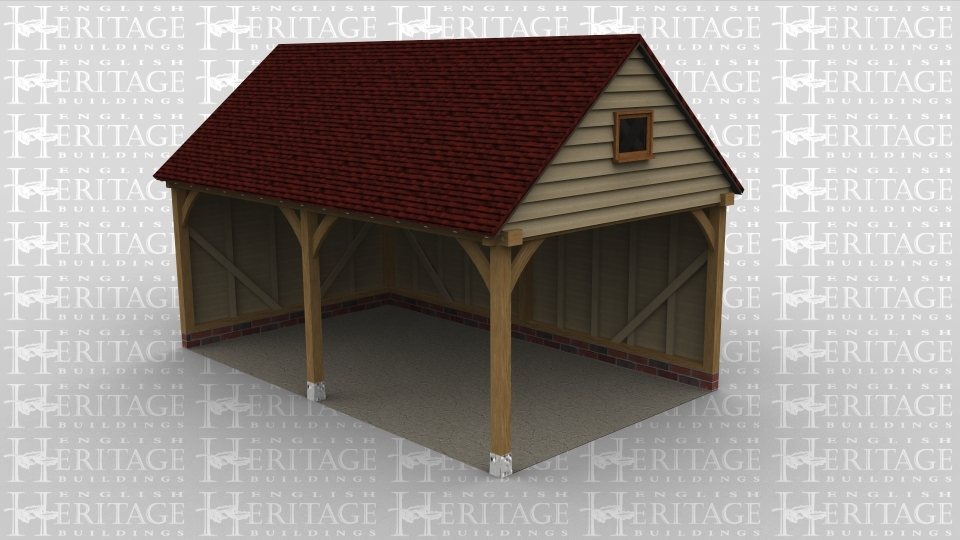 A 2 bay oak framed car port, open at the front and the right with a single pane window in the right gable end.