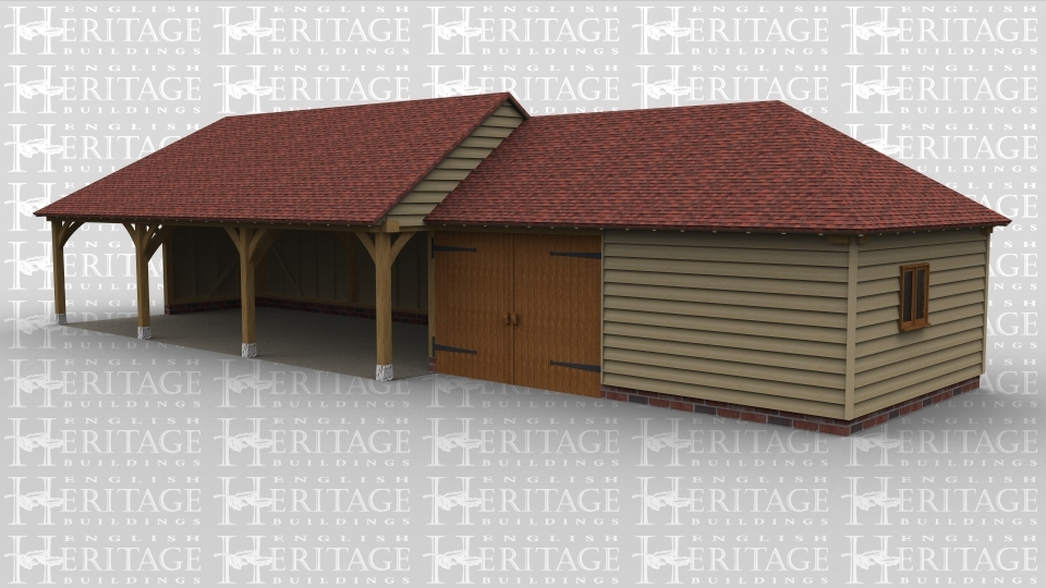 A 5 bay oak framed car port / workshop with 3 bays open at the front and the left wall partially boarded, there is one bay enclosed within a pair of garage doors and another boarded on all sides and on the right of the building is a 2 light window.
