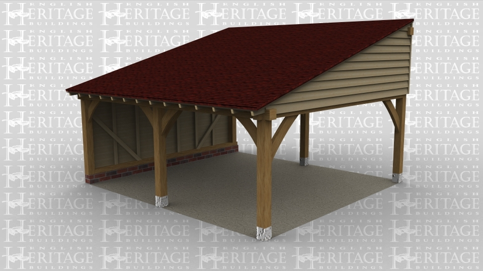 A 2 bay oak framed car port with only the left wall boarded, this building also has a monopitch roof.