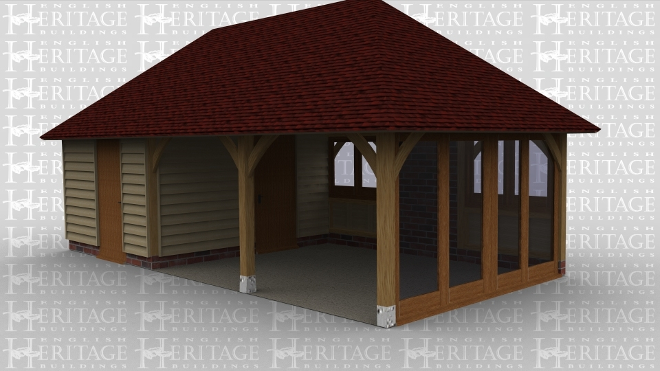 A 3 bay oak frame garage with the left bay fully enclosed internal partitions creating separate rooms, each room has a single door. The other 2 bays are left open at the front and each has 2 windows at the rear, on the right side of the building there is a 4 pane section of full height glazing.