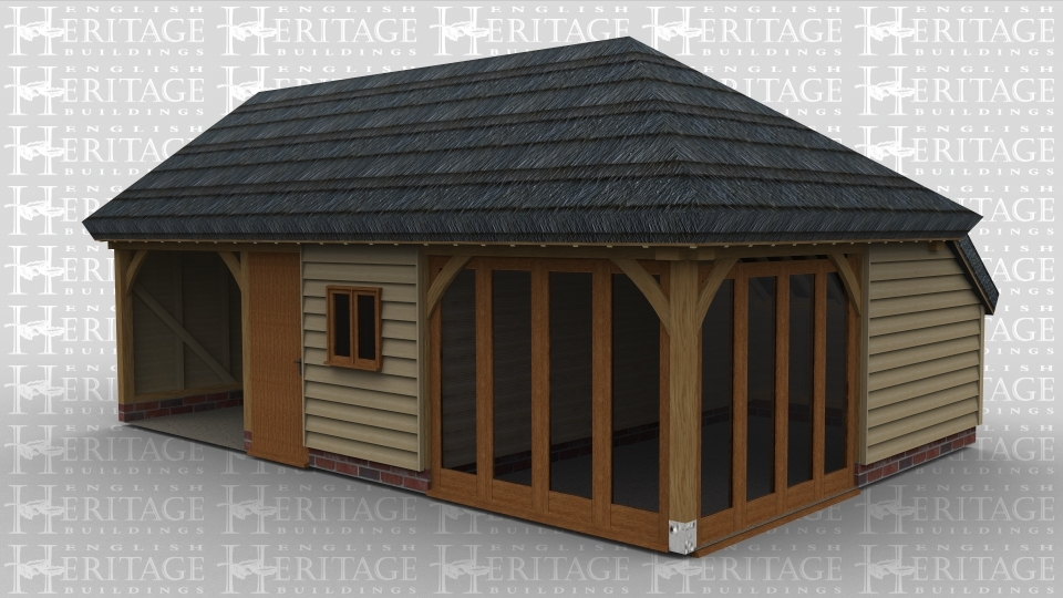 A 3 bay oak framed leisure building with one bay open at the front , the second bay has a solid single door and a 2 light window and the right hand bay has full height glazing on bioth the front and right side.. This building has a thatched roof as well as an internal aisle at the rear.