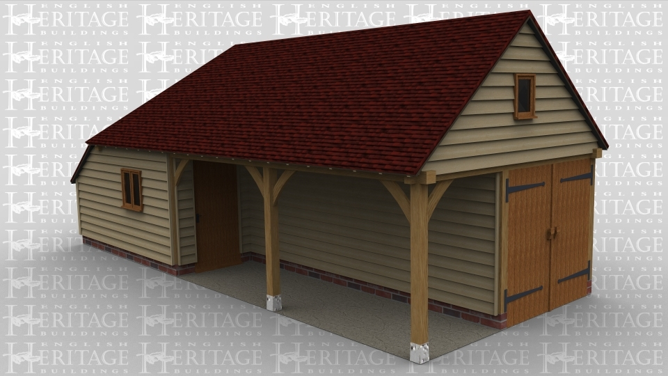 A 3 bay oak framed building with one bay fully enclosed with a 2 light window at the front and a solid sinlge door on the right of the bay. The other 2 bays have a set back partition, on the right side of the building is a pair of garage doors and a 1 light window in the gable end of the building.