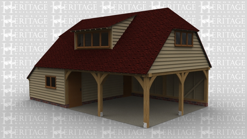 A 3 bay oak framed garage with upper floor. The left hand bay on the ground floor is fully enclosed with a 2 light window at the front and 2 single doors on the right. On the left of this bay is an internal aisle. The other 2 bays are left completely open. The first floor has a 3 light window underneath the barn hip roof on the right and a mono pitch dormer with a 4 pane window.