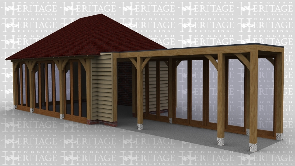 A 6 bay oak framed building made up of 2 frames. The first frame is 3 bays in size with a full hip roof on both ends and full height glazing all along 2 sides to allow lots of natural light into the building. The second frame has a flat roof and is open on the front and right side to allow it to attach to an existing building and on the rear it has full height glazing along the whole wall to create a well lit walkway between the existing building and the extension.