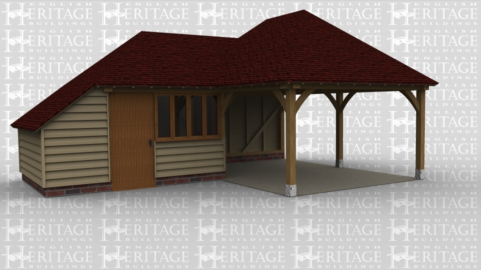 A 3 bay oak framed building made up of 2 frames. The first frame is a single bay with a full hip roof on the left, it has a solid single door and a window with 4 panes on the front, on the left of the frame is an internal aisle and on the right is a window with a further 4 panes in it. The second frame makes up the other 2 bays and has a full hip style roof on both ends and is left open on the front, left and right.
