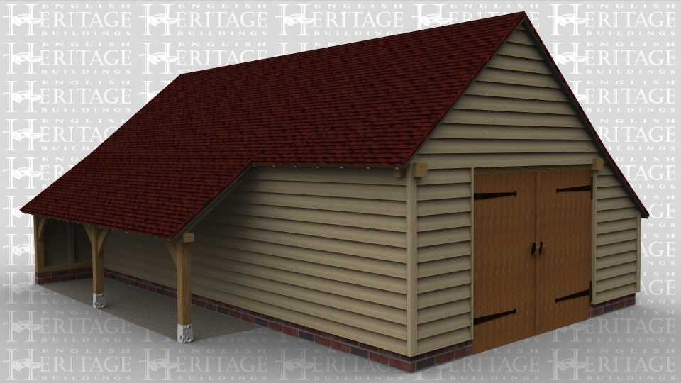 A 3 bay oak framed garage with 2 bays left open at the front  and right side whilst the other bay has an internal aisle at the front with a solid single door on the right partition wall, on the right side of the building is a pair of iroko garage doors and this building also has an external aisle at the rear.