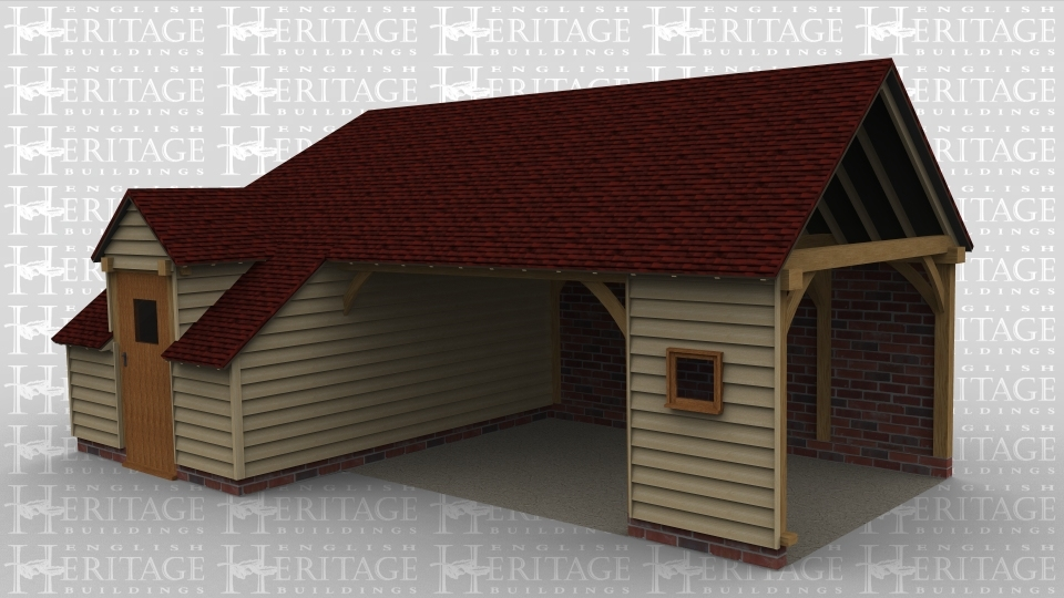 A 3 bay oak framed building made up of 2 frames, the first frame accounts for 1 of the bays with an internal aisle on the right hand side with a dormer containing a half glazed single door coming out of it. The main span of the rear is open with weatherboard in the gable end and a single window. The second frame makes up the other 2 bays, the front is mostly open with some weatherboarding and left open at the right to allow it to attach to an existing building.