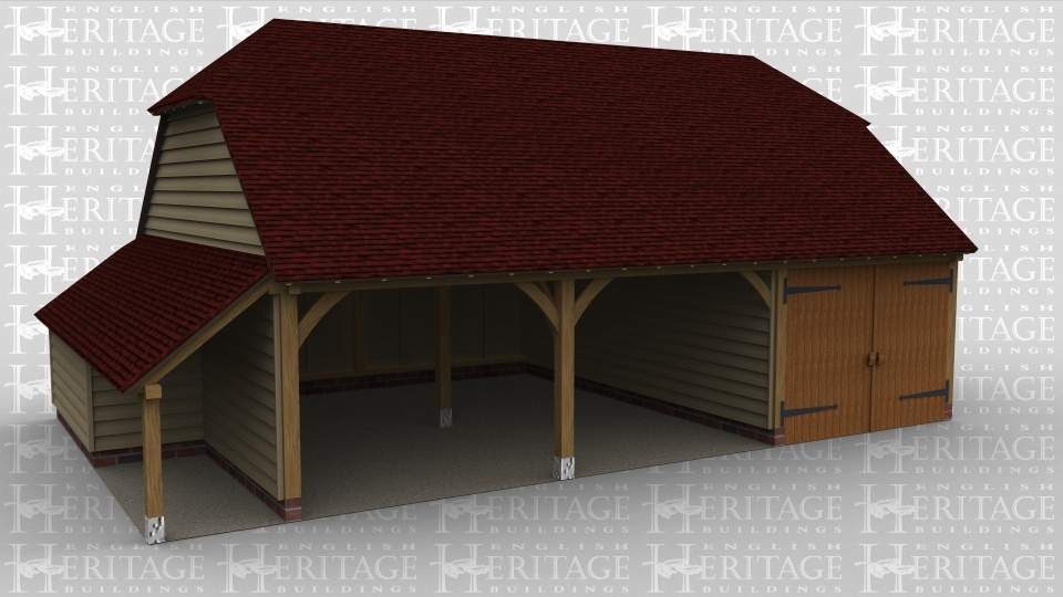 A 3 bay oak framed garage with two bays left open at the front and the third enclosed with a pair of iroko garage doors, the  left side of the building has an aisle that is partly internal and partly external.