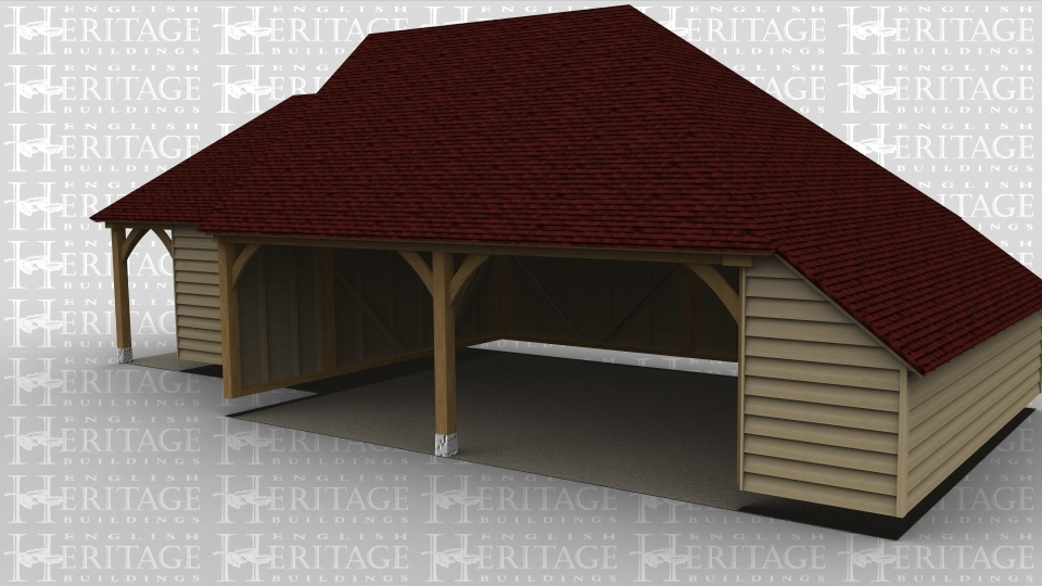 A 3 bay oak framed garage made up of 2 frames. The first frame is 2 bays in size, it is open at the front with a gable end on the left and a full hip roof on the right, there is also an internal aisle on the right side. The second frame is a single bay with a 2 light window at the front on the left is a solid single door and a 2 light window.