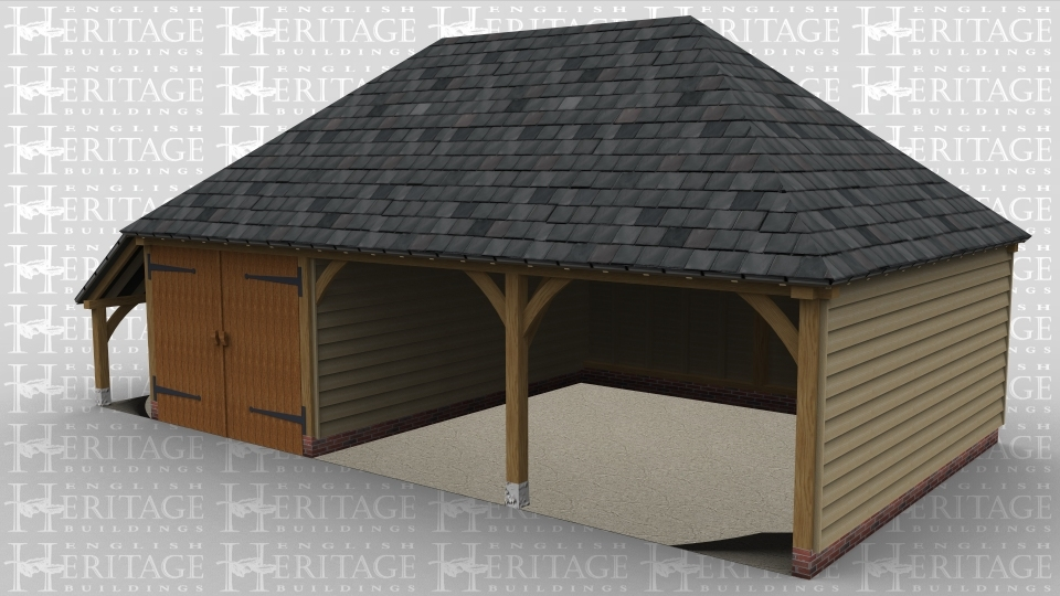 A 3 bay oak framed garage with a full hip slate roof on the left and right with the front of 2 of the bays open while the third is enclosed with a pair of iroko garage doors and an external aisle on the left.
