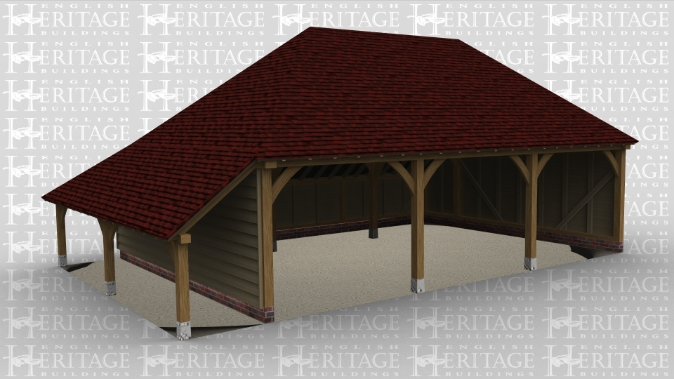 A 3 bay oak framed garage with a full hip roof on the left and right and all bays open at the front , this building has an external aisle on the left and an internal aisle at the rear.