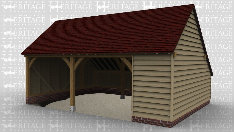 A 2 bay oak framed garage open at the front with an internal aisle on the right and the rear.