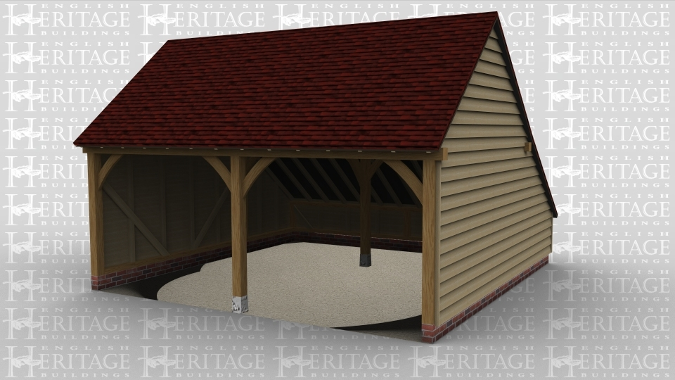 A 2 bay oak framed garage with both bays open at the front  with an internal aisle at the rear.