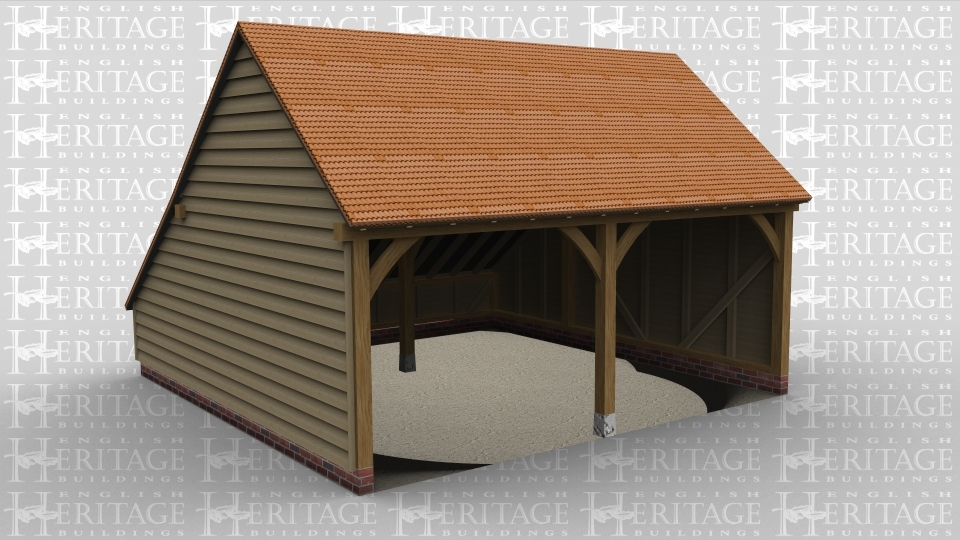 A 2 bay oak framed garage open at the front with an internal aisle at the rear and pantile roofing.