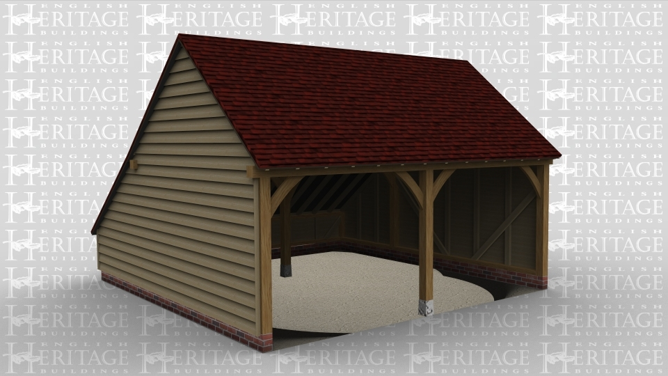 A 2 bay oak framed garage open at the front with an internal aisle at the rear.