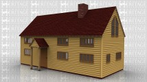 An 4 bay oak framed sling brace extension with upper floor. At the front of the frame is a porch housing a solid single door, there is also three 4 light windows on the ground floor and three 4 light windows on the first floor, the left wall is left open to allow it to attach to an existing building, the right wall has a 2 light window and a 4 light window on the ground floor and on the first floor is a 4 pane window in the gable end. The rear of the building has a further three 4 light windows on the ground floor and 3 on the first floor additionally there is a 4 pane window on the first floor and a section of full height glazing below on the ground floor to allow for plenty of natural light to enter the building.