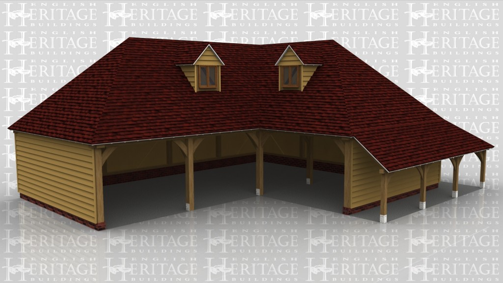 A 5 bay oak frame garage with upper floor configured in an 'L' shape. There is an external logstore to the right and rear of the right hand bay and two dormer windows in the upper floor. The upper floor is accessed via an intenral staircase.
