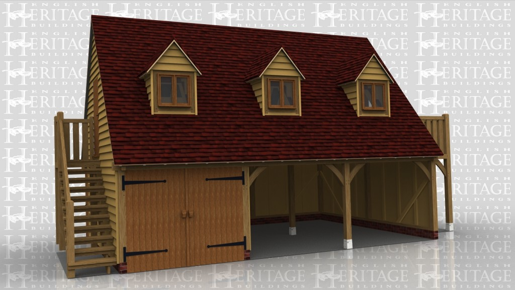 A 3 bay oak frame garage with upper floor. One bay has a pair of iroko garage doors while the other 2 bays are left open, on the left of the building is a staircase leading to the first floor, on the first floor is a solid single door on the left while at the front there is a dormer in each bay containing a 2 light window and at the right is a balcony area.