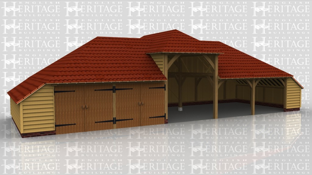 A 5 bay oak frame garage made up of 3 frames, the first of which is 2 bays in size and has an internal aisle on the left with a pair of iroko garage doors at the front of both bays. The second frame accounts for a 1bay which is open at the left hand side with a rear wall and a right wall. The final frame makes up the last 2 bays and is open at the front with an internal aisle on the right.
