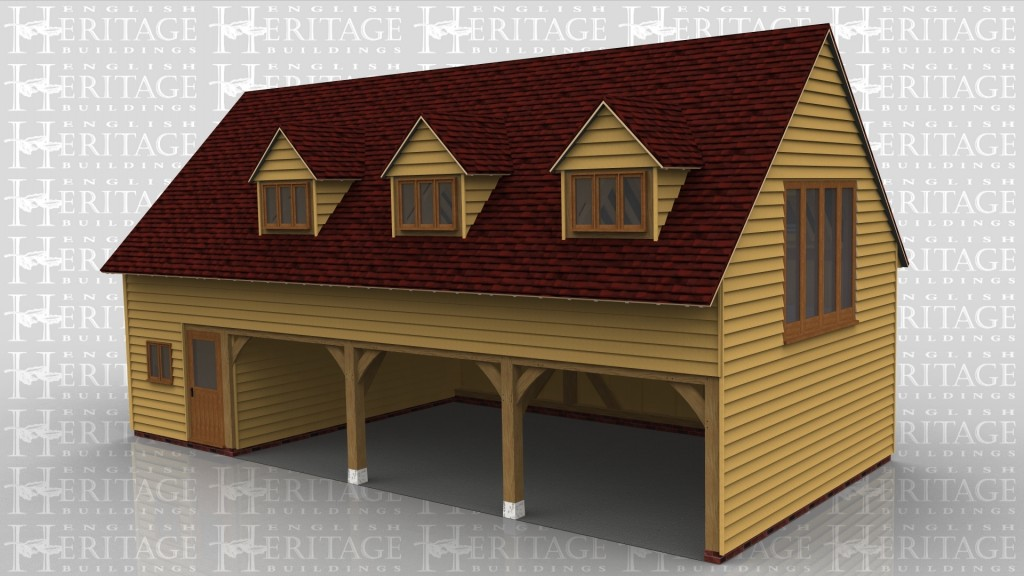 A 4 bay oak framed sling brace garage with upper floor. On the ground floor 3 of the bays are left open at the front while the other has a half glazed door and a 2 light window. On the left is an external logstore and in the enclosed bay is an internal oak staircase leading to the upper floor. On the first floor there are 3 dormers at the front each with a 3 light window in and on the left is a 4 pane window and on the right is a section of full height glazing to allow plenty of natural light into the building.