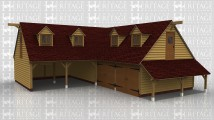 A 6 bay oak framed building made up of 2 frames with upper floors. The first frame has 2 open bays on the ground floor and the first floor bays has 2 dormer windows, on the left of the first floor is a half glazed door. The second frame makes up the other 4 bays. On the ground floor 2 of the bays are enclosed each with a pair of iroko garage doors at the front and on the right hand side is an external aisle. On the first floor there are another 2 dormers both containing 2 light windows and on the right of the building is another half glazed door.