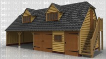 An oak framed garage with 4 bays on the ground floor and 4 bays on the first floor. On the ground floor 2 of the bays are left open at the front while one is enclosed with a pair of iroko garage doors and the other hasa solid single door and a mullion window at the front. On the right hand side is an external staircase leading to the first floor. On the first floor there is a solid single door on the right and at the front are 2 dormers each containing a 4 light window to allow plenty of light into the upper floor.