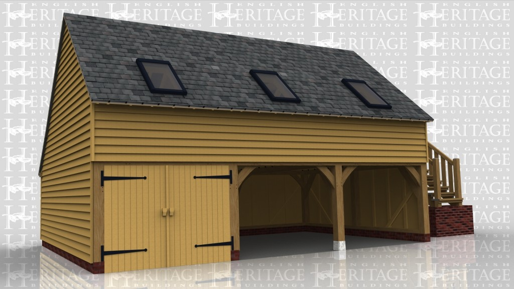 A 3 bay oak framed garage with upper floor. On the ground floor there is a pair of softwood garage doors at the front of 1 bay while the other 2 bays are open at the front. On the right of the building is an external staircase leading to the first floor. On ther first floor there is a half glazed single door on the right and at the front there are 3 rooflights as well as 3 more at the rear to allow plenty of natural light into the frame.